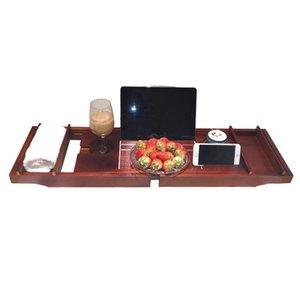 Bamboo Bathtub Tray Candy Bath Tray Spa Bathtub Book Wine Tablet Holder Reading Rack Organizer Nonslip Bottom Extendable Sides