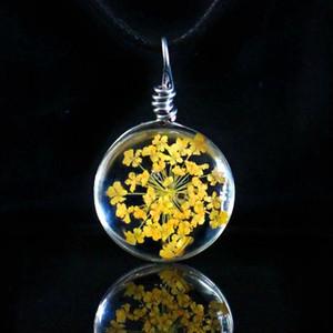 Art- und Weiseblumen-Glasball-Frauen-Halsketten-hängende Seil-Kettenglas-Zink-Legierung getrocknete Blumenhalskettenhalskette