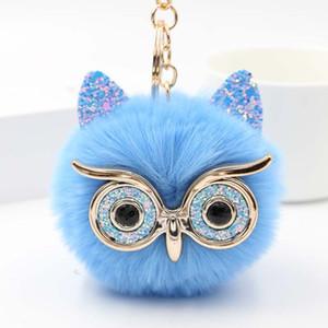 Schöne Paillette Ohr Owl Schlüsselanhänger für Mädchen Boy Fluffy Gefälschte Tier-Pelz-Kugel Pompon Schlüsselanhänger Charme-Frauen-Beutel-Schlüsselring