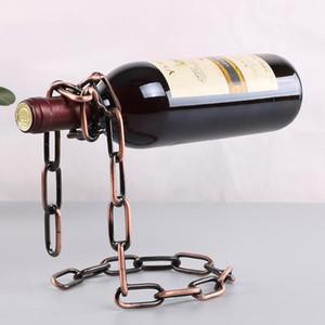 Magia metallo appeso Sospensione catena Wine Rack europea Retro Creativo fatto a mano ristorante bar basamento della staffa Display Stand