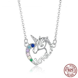 China genuine 925 sterling silver love heart Licorne animal shape pendant necklace high quality trendy necklace 2019 free shipping wholesale