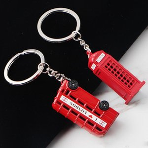 Minimalist British Wind Double-Decker Bus Car Keychain Charm Pendant Keyring Telephone Booth Keychains Gift Support