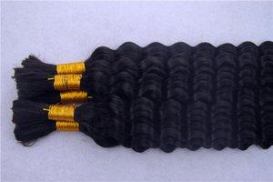 검은 색이 인간의 머리를 땋는 대량 No Weft 페루 깊은 파 머리 번들 물 Wave 번들 끈 머리 연장 8-36Inchs