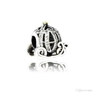 Diy Fit Pandora Bracelet Authentic 925 Sterling Silver Cinderella Pumpkin Carriage Charm Bead With Clear CZ For Jewelry Making