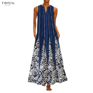 Maxi Dress Plus Size New Sundress Vintage Summer V Neck Bohemian Beach Sleeveless T Shirt Dress 3