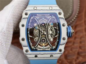 RM53-01-1 orologio دي لوسو تعليق حركة الساعات ألياف الكربون حالة الرجال ووتش سيليكون watchband مقاوم للماء العرق