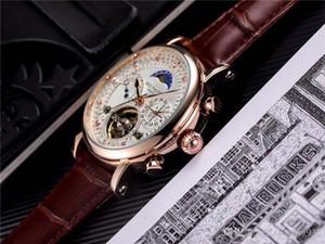التلقائي الماس الساعات الميكانيكية 42MM توربيون ووتش سيد الرجال الفاخرة الرجال العلامة التجارية اعلى الساعات والجلود الرياضة PP ساعة MONTRE HOMM