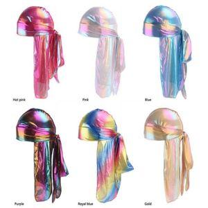 Colorful Sparkly Durags Turban Bandanas Men's Shiny Silky Durag Headwear Headbands Hair Cover Wave Caps R303 a858