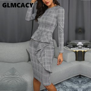 Kadınlar Ekose Baskı fırfır Trim Midi Elbise Office Lady Kılıf Tam Üstü Diz Mini O-boyun Uzun Kollu Sonbahar Parti Elbise