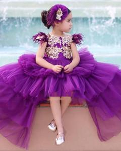 Alta elegante púrpura de las muchachas del desfile de los vestidos de la princesa de la manga casquillo de oro Apliques largo Girl Party baja cabritos del niño de flor de baile vestidos para niños