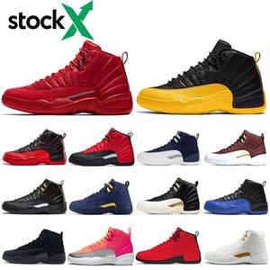 Stok X 12AirÜrdünRetro 12 12'leri Basketbol ayakkabıları mens TERS GRİP OYUN KÜRESEL FIBA Koyu Gri Erkek Spor Eğitmenler Spor ayakkabılar 7-13