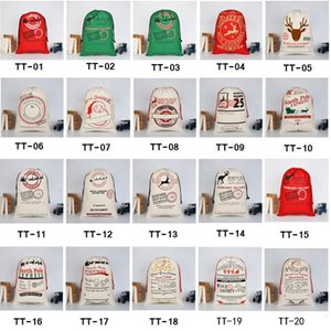 50*70cm Cartoon Large Organic Heavy Canvas Santa Claus Drawstring Bag For Christmas day Happy New Year
