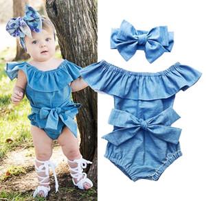 미국 재고 신생아 아기 소녀 프런트 Bowknot 바디 수트 Romper 점프 슈트 복장 세트