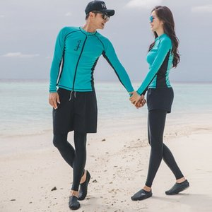 Split diving swim diving quick-drying zipper sunscreen jellyfish men's and women's long-sleeved swimming suit surfing suit for lovers