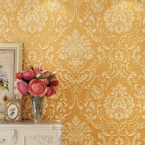 New Upscale Europeu damasco tridimensional fina pressão ouro 3d grosso não-tecido papel de parede sala de estar quarto estudo quarto papel de parede
