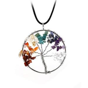 Vida Colar Pingente Árvore Natural de pedra arco-íris 7 Chakra Tree Of Life quartzo para mulheres dos homens couro corda camisola cadeia de jóias presente