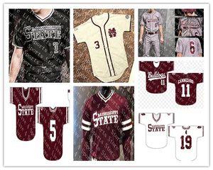 Camisetas de béisbol personalizadas de los Bulldogs estatales de Mississippi cosidas blancas rojas negras Cualquier número Nombre 15 Jake Mangum 4 Rowdey Jersey S-4XL