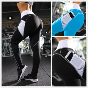 Hot explosions high waist pockets spliced peach pants ladies casual yoga pants tight fitness leggings