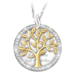 Leben-Baum-Halskette Intarsien mit Diamanten europäischen und amerikanischen Mode hangtag, Schriftzug, vergoldet religiöse hangtag Halskette