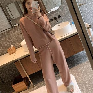 2019 Autumn Casual Sweaters Tracksuit Womens Knitted Cashmere Two Piece Sets Women Hooded Sweatshirts Sporting Suit Female Y200701