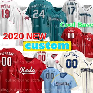 24 Ken Griffey Jr Jersey Custom 11 Edgar Martinez 17 Mitch Haniger Kyle Seager 7 Eugenio Suarez Barry Larkin Johnny Bench Joey Votto