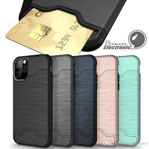 Caso Card Slot per l'iphone 12 mini Pro X XR XS MAX 8 Plus SE Samsung S9 S10 S20 più Armatura caso della copertura posteriore 11 guscio duro con cavalletto