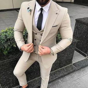 Nova Bege Homens ternos Slim Fit casamento do noivo smoking 3 Pieces (jaqueta + calça + Vest) Suits Noivo melhor homem Blazer 239