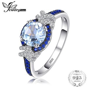 JewelryPalace Fashion 1.95 ct Genuine Natural Sky Blue Topaz & Created Blue Spinel 925 Sterling Silver Rings Women Party Jewelry S18101002