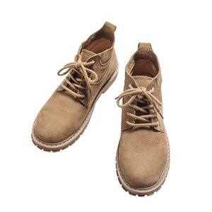 Botas de couro genuíno Shoes Men Outono-Inverno Segurança do Trabalho Lace Up High Top Botas antiderrapante Plataforma Motorcycle Vintage Shoe