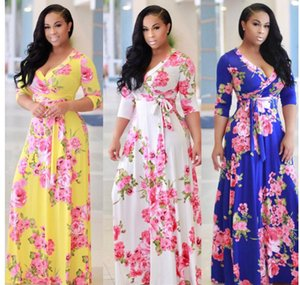 Women Long Sleeve Floral Printed Holiday Dresses Plus Size Sundress 5XL