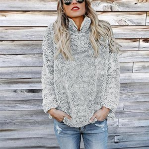 Womens Solid Color Fashion Jacket Cap Solid r PlushL Long Sleeved Sweater Autumn Winter Warm Sports Casual Tops