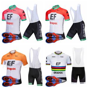 EF 교육 첫 번째 팀 사이클링 짧은 소매 저지 턱받이 반바지 세트 남성 짧은 소매 턱받이 반바지 편안한 스포츠 저지 세트 S8317