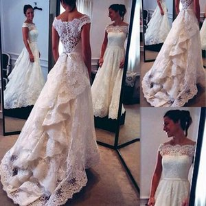 New Vintage A-Line Lace Wedding Dresses White Sheer Off The Shoulder Short Sleeves Sash Wedding Bridal Gowns With Sweep Train