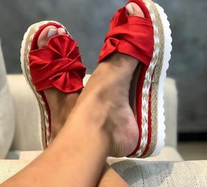 Женщины Лук тапочки обувь коренастый сандалии белый толстый замша Повседневная мода пляжная обувь Открытый Wild Beach Тапочки