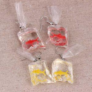 Regalos de la joyería estrella pendientes pendientes de la gota manera divertida para las mujeres de la personalidad transparente planta de agua bolsa de diversión Goldfish Mar