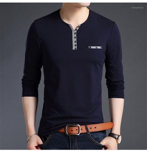 Slim Hommes col en V T-shirts Bouton mode couleur pure manches longues T-shirts Casual Male Designer Apparel Casual