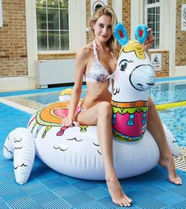 Nuevo gran colchón inflable de alpaca Bohemia estilo nadar anillo flotadores piscina flotante animal caballo asiento anillos cisne sofá salón juguete