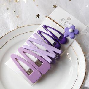 7pcs / set clips coloridos de pelo de la flor del color del caramelo tocado horquilla muchachas de las mujeres Señora de pelo que labra los accesorios E-chica tendencia