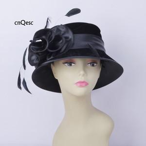 2019 preto de veludo chapéu chapéu de cetim Ladies formais chapéu vestido de penas fascinator para Igreja Kentucky casamento derby.