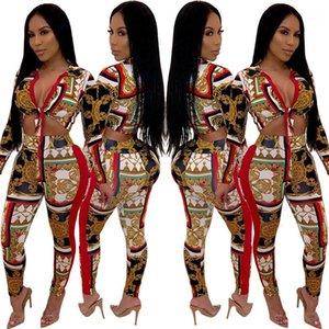 Mulheres Duas Calças Mulit Print Mulheres Duas Peças Conjuntos Sexy Skiny V Pescoço Duas Calças Moda Laço