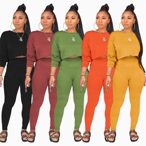 Womens Tracksuits Designer Casual calças lápis Manga comprida O-pescoço curto Tops 2 Piece conjuntos sólidos das mulheres Fatos cor da moda
