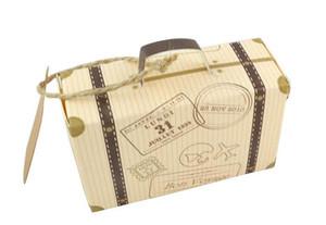 Kraft Caixas De Presente Com Tema de Viagem De Casamento Partido Favor Do Partido Mala Kraft Caixas De Doces Festa de Aniversário Estilo Elegante
