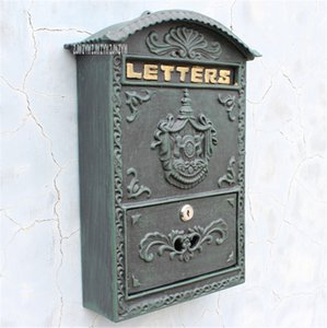 2568 6899 European Style Mailbox Retro Wall Newspaper Letter Post Box Iron Handicraft Lockable Mailbox Outdoor Secure Letterbox