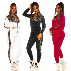 Women Leopard Patchwork Activewear Sportswear Sets Yoga Outfit Jogging Workout