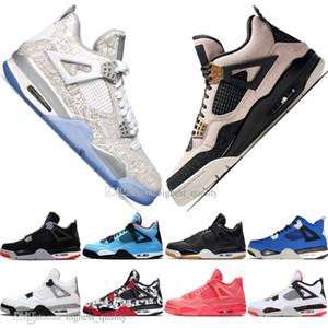 De calidad superior Nueva Bred 4 4s Lo Las zapatillas Cactus Jack láser Alas de baloncesto del Mens Denim azul pálido Citron Hombres Deportes zapatillas de deporte 5,5-13