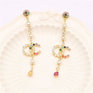 Temperament long style earrings female super fairy pearl set color diamond tassel new fashion niche ears pendant joker earrings
