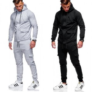 2018 Fashion Brand New Men Hooded Casaul Silm Sweatshirts solid Long pants Set