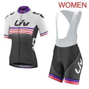 2019 Mujeres LIV Team Manga Corta Ciclismo Jersey Traje tops de bicicleta pantalones babero traje Ropa Deportiva de Montaña de Secado rápido Ropa de Secado rápido Y052205