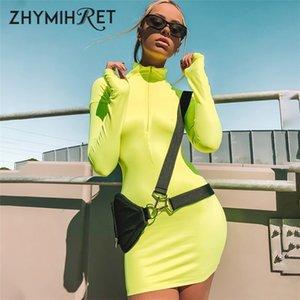 Zhymihret 2018 Otoño Vestido de color neón para mujeres Sexy Flaco Cremallera Frente Vestido de manga larga Fiesta de otoño Mini Vestidos Mujer MX19070302