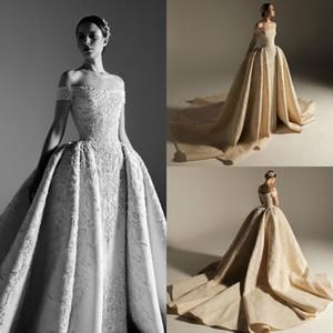Abiti da sposa di lusso 2019 con treno staccabile Krikor Jabotian off spalla pizzo perline cappella abiti da sposa plus size abito da sposa